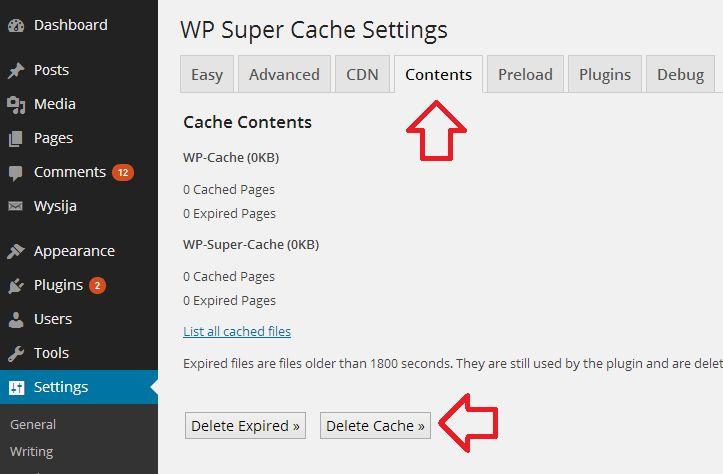 delete-cache-wp-super-cache